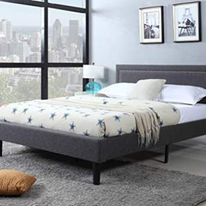 Divano Roma Furniture Upholstered Tufted Headboard & Bed Frame-32 Tall Stitched Platform Panel, Low Profile Bedframe Mattress Foundation/Solid Wood Slat Base – No Box Spring Needed, Queen, Dark Grey