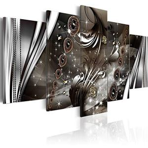 YHY ART Abstract Wall Art Black and Brown for Living Room Decor Modern Wealth and Luxury Jewelry Canvas Artwork Print Framed Painting 5 Pieces Home Decor(W40'' x H20'')