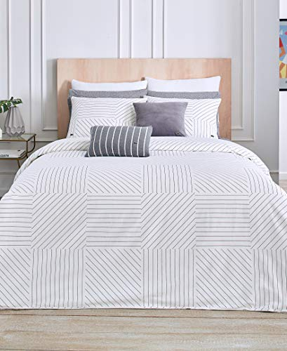 Lacoste Guethary Duvet Set, Full/Queen, White