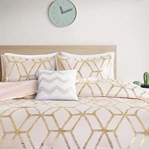 Comfort Spaces Vivian 4 Piece Comforter Set Ultra Soft All Season Lightweight Microfiber Geometric Metallic Print Hypoallergenic Bedding, Full/Queen, Blush/Gold