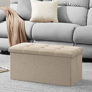 YOUDENOVA 30 inches Storage Ottoman Bench, Foldable Footrest Shoe Bench with 80L Storage Space, End of Bed Storage Seat, Support 350lbs, Linen Fabric Beige