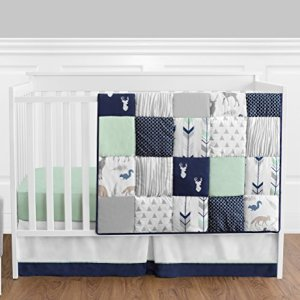 Navy Blue, Mint and Grey Woodsy Deer Boys Baby Bedding 4 Piece Crib Set