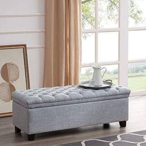 BELLEZE Mid Century Modern Tufted Upholstered Fabric Large Storage Ottoman Bench Footrest, Light Grey
