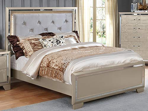 GTU Furniture Contemporary Metallic Gold and Silver Style Wooden 4Pc Queen GTU Furniture Contemporary Metallic Gold and Silver Style Wooden 4Pc Queen Bedroom Set(Q/D/M/N).