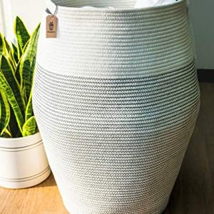"Goodpick Laundry Hamper | Woven Cotton Rope Dirty Clothes Hamper Tall Kids Curve Laundry Basket Large, 25.6"" Height"