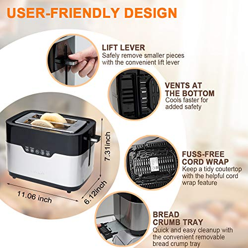 Secura Toaster 2 Slice Bagel Bread Stainless Steel Extra Wide Slots Secura Toaster 2 Slice Bagel Bread Stainless Steel Extra Wide Slots with Defrost Reheat Auto Shut Off Function Removable Crumb Tray.