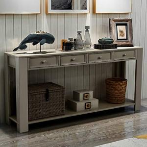 "P PURLOVE Console Table for Entryway Hallway Easy Assembly 64"" Long Sofa Table with Drawers and Bottom Shelf (64"", Antique Grey)"