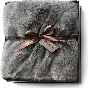 Eikei Luxury Faux Fur Throw Blanket Super Soft Oversized Thick Warm Afghan Reversible to Plush Velvet in Tan Grey Wolf, Cream Mink or Blush Chinchilla, Machine Washable 60 by 70 Inch (Grey Frost)