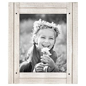 """Americanflat Picture Frame in Aspen White with Three Displays Textured MDF and Polished Glass for Wall and Tabletop - 8"""" x 10"""""""