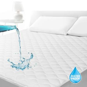 "SLEEP ACADEMY Waterproof Quilted Mattress Pad King, Hypoallergenic, Smooth Soft Mattress Protector Breathable, Fitted 18"" Deep, Vinyl Free"
