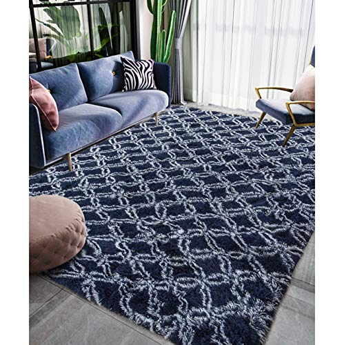 Homore Luxury Velvet Fluffy Bedroom Rug Shag Plush Carpet 5x8 Feet, Super Soft Moroccan Area Rugs for Kid Girls Living Room Floor, Blue