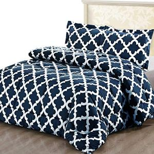 Utopia Bedding Printed Comforter Set (King/Cal King, Navy) with 2 Pillow Shams - Luxurious Brushed Microfiber - Down Alternative Comforter - Soft and Comfortable - Machine Washable