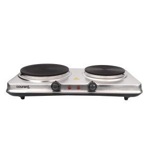 Courant Double-Burner, 1700W Hot Plate, Stainless Countertop Burner, Silver Portable Electric Cooktop, Stainless Steel, CEB2186ST