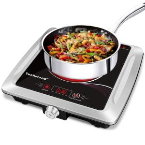 Techwood Hot Plate Electric Stove Single Burner Countertop Infrared Ceramic Cooktop, 1500W Timer and Touch Control, Portable Compatible All Cookware, Ceramic Glass & Stainless Steel