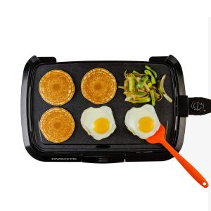 Ovente Electric Griddle with 16 × 10 Inch Non-Stick Cooking Plate, 1200 Watts Fast Cooking with Temperature Control, Easy to Clean, Perfect for Pancakes, Sausages, and More, Black (GD1610B)