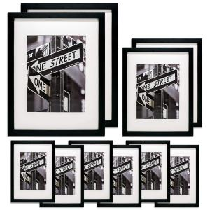 TheDisplayGuys 10pc Solid Pine Wood Tempered Glass Gallery Wall Picture Frames Set - six 5x7, Two 8x10, Two 11x14 - with Collage Mats & Easels (Black)
