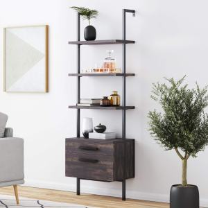 Nathan James Theo Industrial Bookshelf with Wood Drawers and Matte Steel Frame, 3-Tier w, Nutmeg/Black