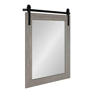 """Kate and Laurel Cates Rustic Wall Mirror, 22"""" x 30"""" x .75"""" Rustic Gray, Farmhouse Barn Door-Inspired Wall Decor"""
