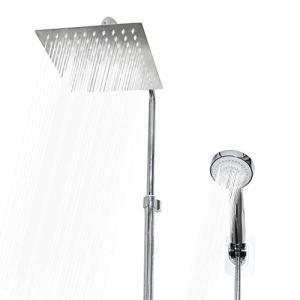 SUNSHOWER Shower Head,High Pressure Stainless Steel 8 Inch Rain Showerhead and 3 Settings Detachable Handheld Shower Spray Combo -Chrome Finish