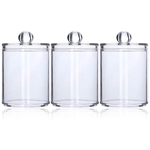 Tbestmax 10 Oz Plastic Cotton Swab Ball Pad Holder, Qtip Jar Clear Makeup Organizer, Bathroom Containers Individual Dispenser 3 Pack
