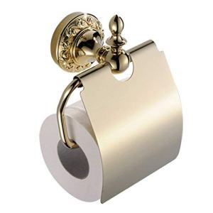 BATHSIR Modern Brass Shiny Toilet Paper Holder with Cover,Zirconium Gold Tissue Holder Wall Mounted Luxury Bathroom Accessory