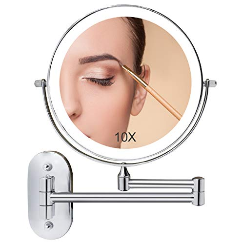 Wall Mounted Makeup Mirror Lighted, 8 Inch Double Sided Mirror Bathroom Mirror for Shaving Vanity 1X 10X Magnifying, Dimmable LED Lights, Extendable Arm, Touch Control, Battery Operated, Chrome Finish