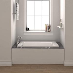 "Fine Fixtures Drop In White Soaking Bathtub, Fiberglass Acrylic Material, Exclusive Small sized 54""L x 30""W x 19""H."