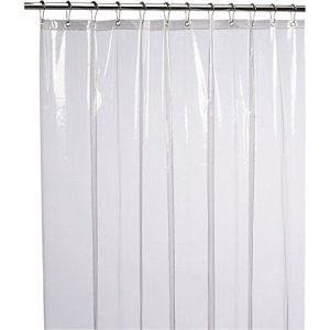 LiBa PEVA 8G Bathroom Shower Curtain Liner, 72' W x 72' H, Clear 8G Heavy Duty Waterproof Shower Curtain Liner Anti-Microbial Mildew Resistant