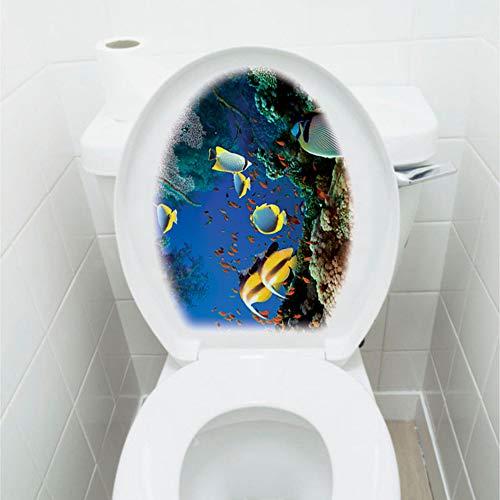 "IARTTOP Under The Sea World Bathroom Decal, Underwater Marine Life Washroom Sticker, Tropical Fish Coral Vinyl Decal for Toilet Lid Bathroom Seat Decoration-1 Sheet(12.6""x15.3"")"