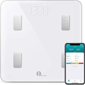 1byone Scales Digital Weight and Body Fat Scale, Bluetooth Bathroom Scale Track 8 Key Body Compositions, 400lbs