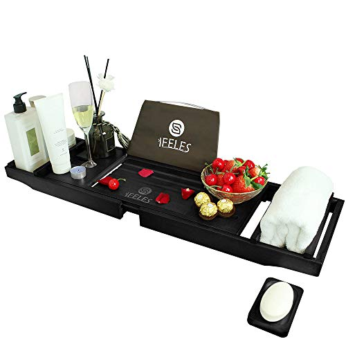 IFELES Luxury Bathtub Caddy Tray, One or Two Person Bath and Bed Tray, Bonus Free Soap Holder (Black Bamboo Color)