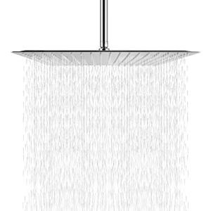 Rainfall Shower Head Chrome - Sarlai 16 Inch Large Rain Solid Square Ultra Thin 304 Stainless Steel Chrome Finish Rainfall Shower Head