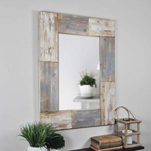"FirsTime & Co. Mason Planks Wall Mirror, 31.5""H x 24""W, Aged White & Gray Wood"
