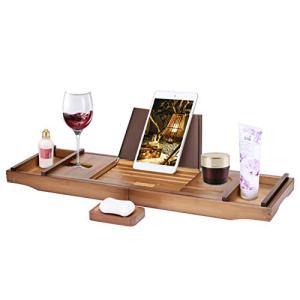 VIVOHOME Expendable Bamboo Bathtub Caddy Tray Bath Accessories with Cellphone Tablet and Wine Book Holder Brown