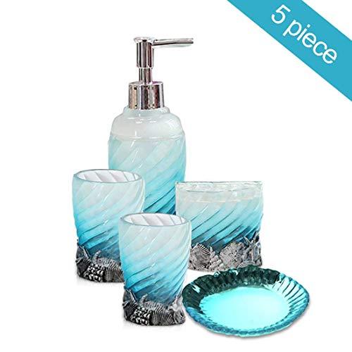 HotSan bathroom accessory Set, 5 PCS Bath Ensemble Set Includes Soap Dispenser, Soap Dish, Tumble, Toothbrush Holder - Polyresin Glass for Home, Office, Superior Hotel