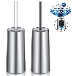 WITAIR Toilet Brush and Holder, Toilet Brush 304 Stainless Steel, Toilet Bowl Brush for Bathroom Toilet-Ergonomic, Elegant,Durable (2 Pack)
