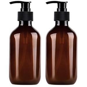 Yebeauty Pump Bottles, Shampoo Bottles with Pump 10oz/300ml Plastic Shampoo Bottles with Pump, Pack of 2