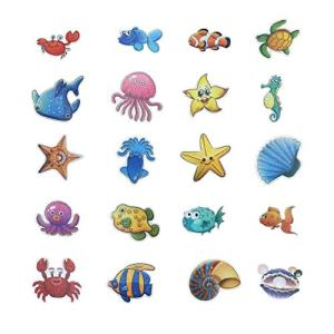 YEEFINE 20 PCS Non-Slip Bathtub Stickers Cute Sea Creature Baby Shower Fun Decals Adhesive Anti-Slip Appliques for Bathtub, Shower and Other Slippery Surfaces