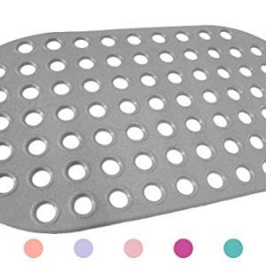 ALL PRIDE Bathtub and Shower Mat, Non Slip, Machine Washable, Perfect Bath Mat for Tub and Shower for Kids and Elderly, 29 x15 Inch, Big Hole, Grey