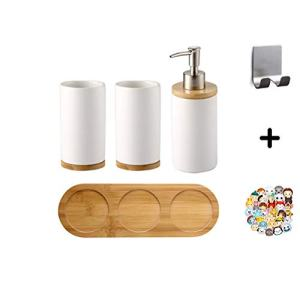 Moseason 4 Piece Ceramic Bathroom Accessories Set ,Includes: Soap Dispenser Pump, Toothbrush Holder, Tumbler and Wooden Tray. Version 2.0