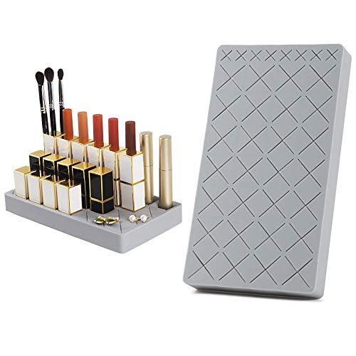 28+8 Slots Lipsticks Silicone Holder Organizer Stand, Upgraded Cosmetic Display Case for Lip Stick Nail Polish, Brushes Eyebrow Pencil and More. Premium Makeup Storage by SUNSHIN-Light Gray