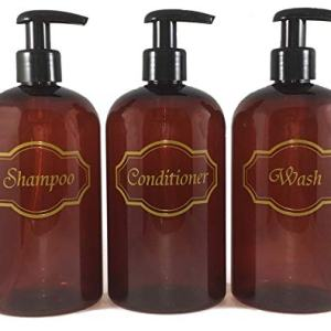 Bottiful Home-16 oz Amber Shampoo, Conditioner, Wash Shower Soap Dispensers-3 Refillable Empty PET Plastic Pump Bottle Shower Containers-Printed Design-Waterproof, Rust-Free, Clog-Free, Drip-Free