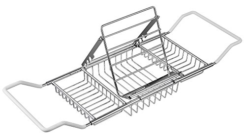 FBasics Bathtub Caddy Stainless Steel Bathtub Tray with Extending Sides and Book Holder