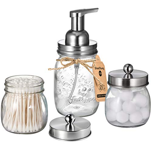 Mason Jar Bathroom Accessories Set - Includes Mason Jar Foaming Hand Soap Dispenser & Qtip Holder Set - Rustic Farmhouse Decor Apothecary Jars Bathroom Countertop and Vanity Organizer / Brushed Nickel