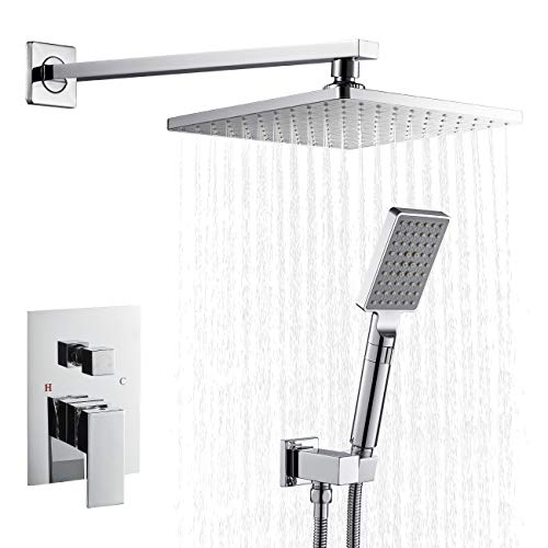 ROVATE Rainfall Shower System Wall Mount, Bathroom Rain Mixer Shower Combo Set, 9 Inch Rainfall Shower Head and 3-setting Handheld Shower,Shower Faucet Set Chrome Finish (Rough-in Valve Body Included)