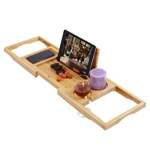 "Utoplike Bamboo Bathtub Caddy Tray Bath Tray for Tub, Adjustable Bathroom Bathtub Organizer with Book Tablet Wine Glass Cup Towel Holder,Distinctive Gift (24.8""-37.4"")"