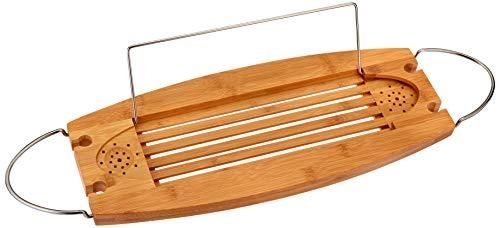 AmazonBasics Deluxe Bamboo Bathtub Caddy Tray
