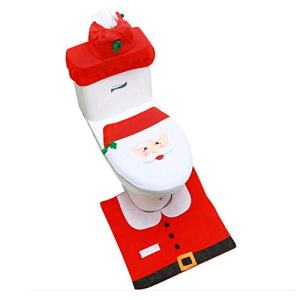 Christmas Toilet Seat Cover Rug Set, Xmas Happy Snowmen Toilet Holiday Tank Covers Bathroom Decor