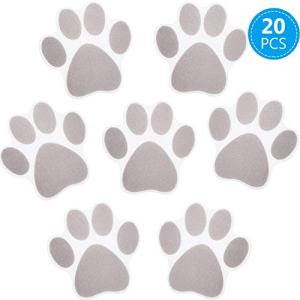 20 Pieces Non-slip Bathtub Stickers Adhesive Paw Print Bath Treads Non Slip Traction to Tubs Bathtub Stickers Adhesive Decals Anti-slip Appliques for Bath Tub Showers, Pools, Boats, Stairs (Gray)