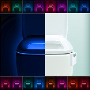 LumiLux Toilet Light Motion Detection - Advanced 16-Color LED Toilet Bowl Light, Internal Memory, Light Detection (White)